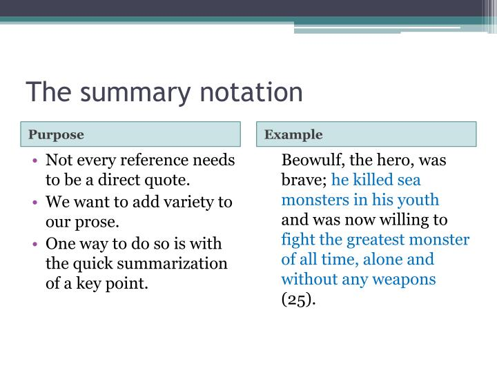 The summary notation