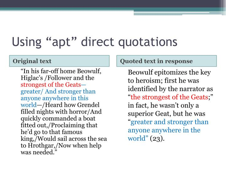 "Using ""apt"" direct quotations"