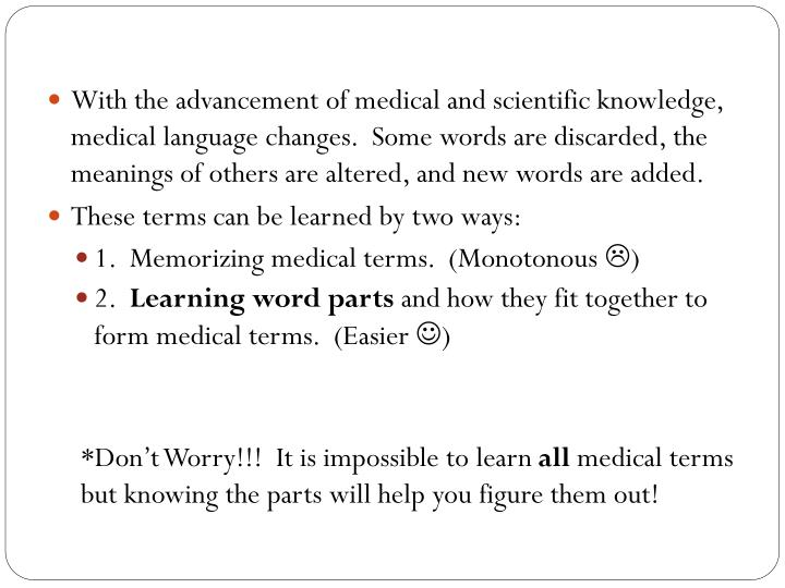 With the advancement of medical and scientific knowledge, medical language changes.  Some words are discarded, the meanings of others are altered, and new words are added.