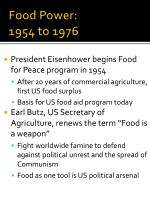 food power 1954 to 1976
