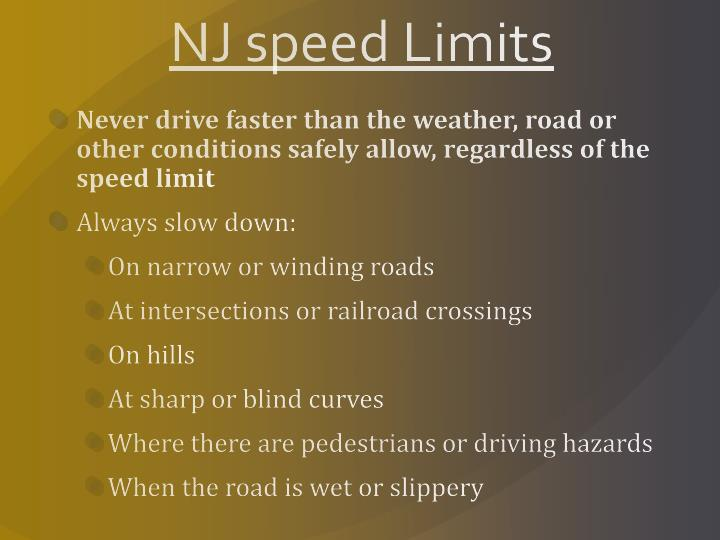 NJ speed Limits