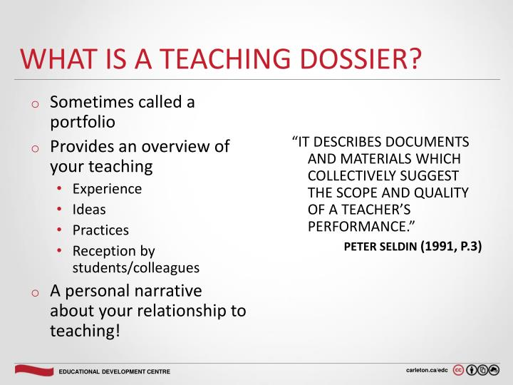 What is a teaching dossier?