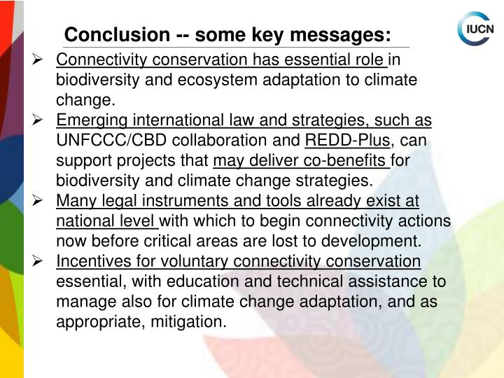 Conclusion -- some key messages: