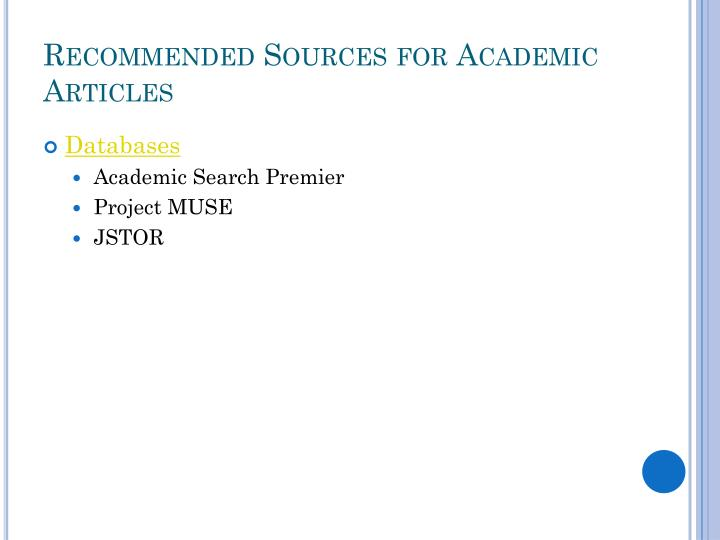 Recommended Sources for Academic Articles