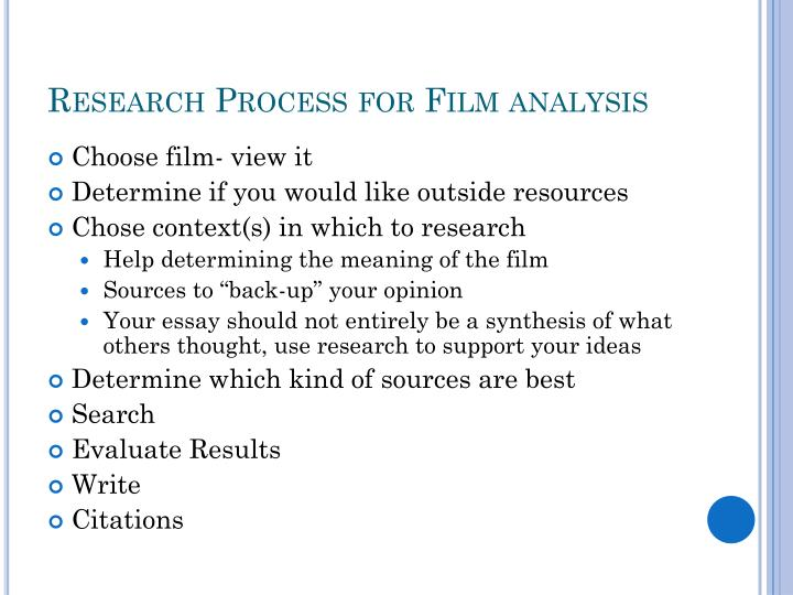Research Process for Film analysis