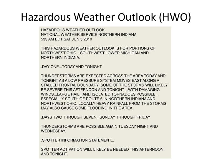 Hazardous Weather Outlook (HWO)