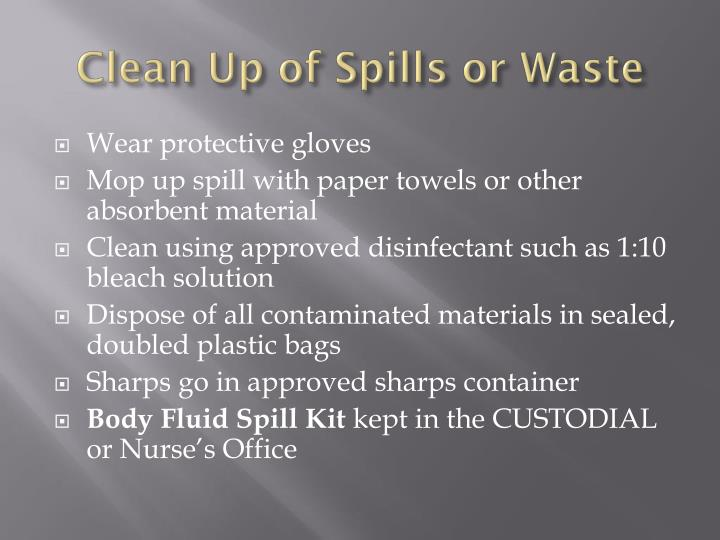 Clean Up of Spills or Waste