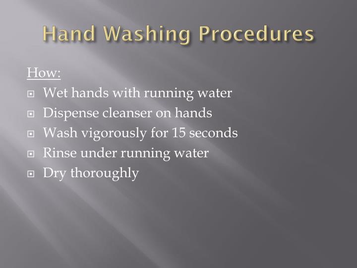 Hand Washing Procedures