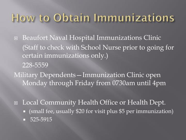 How to Obtain Immunizations