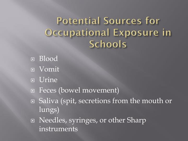 Potential Sources for Occupational Exposure in Schools