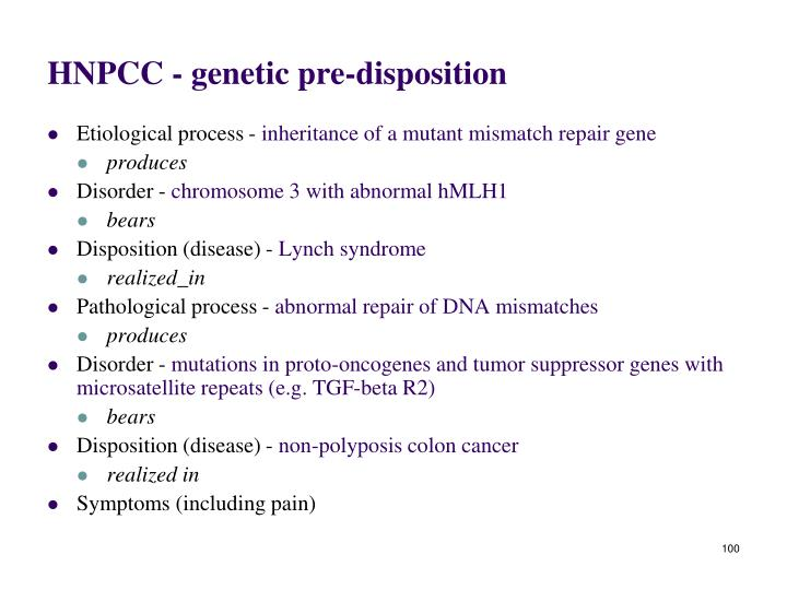 HNPCC - genetic pre-disposition