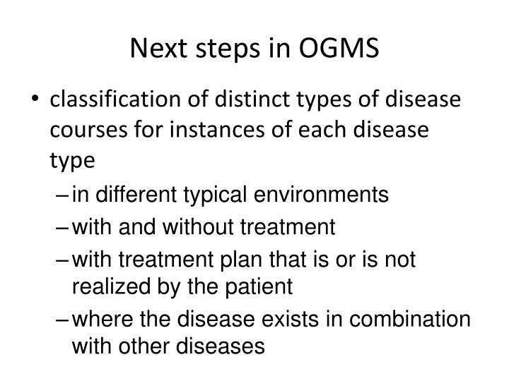 Next steps in OGMS