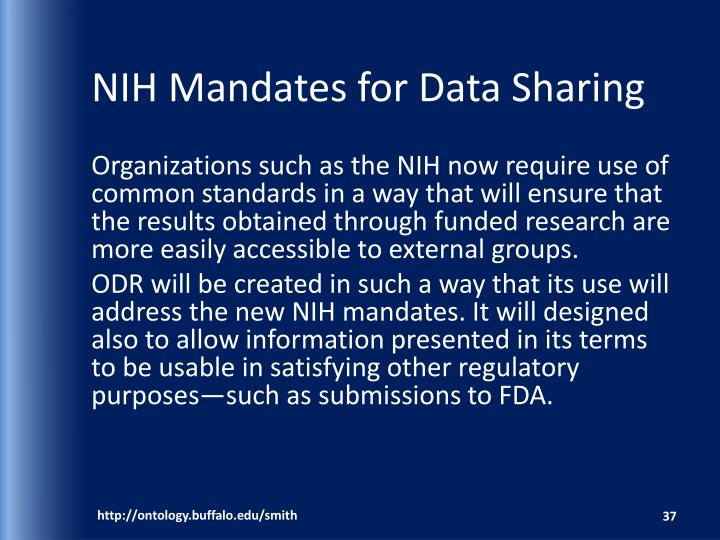 NIH Mandates for Data Sharing