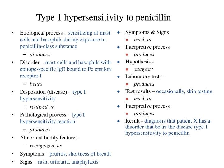 Type 1 hypersensitivity to penicillin