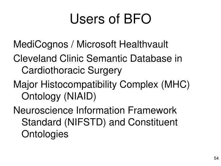 Users of BFO