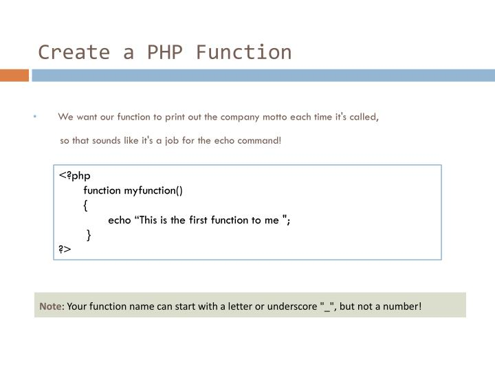 Create a PHP Function