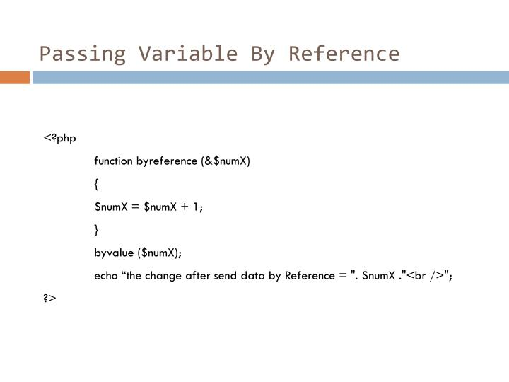 Passing Variable By Reference