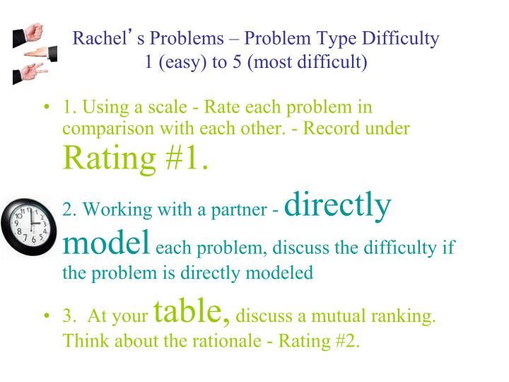 Rachel s problems problem type difficulty 1 easy to 5 most difficult