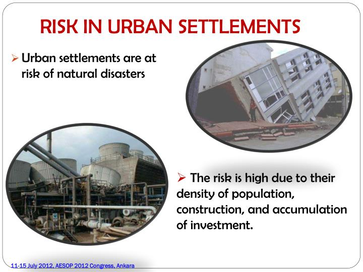 RISK IN URBAN SETTLEMENTS