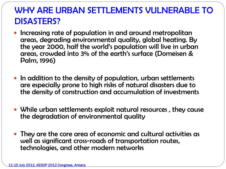 WHY ARE URBAN SETTLEMENTS VULNERABLE TO DISASTERS?