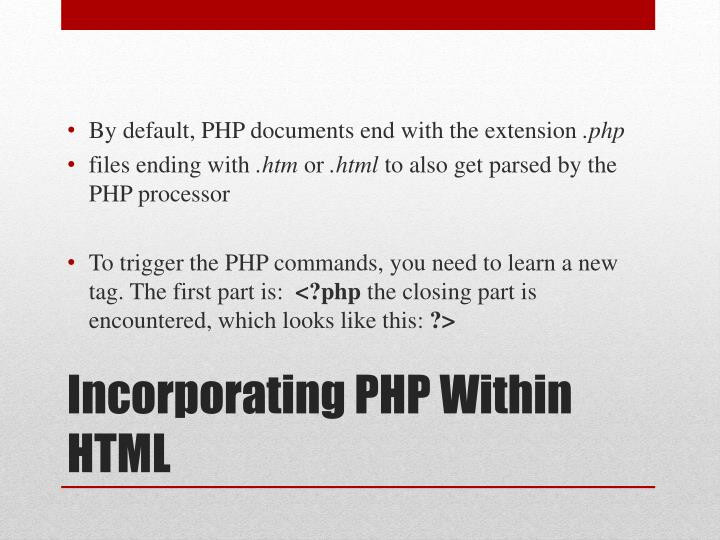 Incorporating php within html
