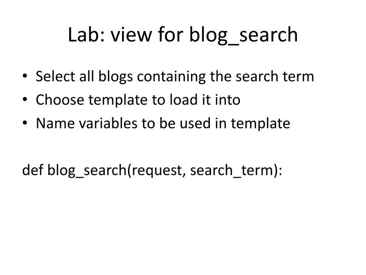 Lab: view for