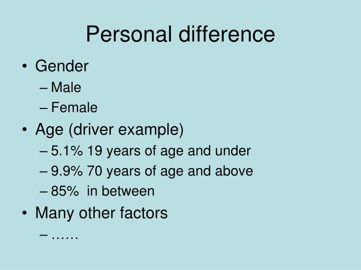 Personal difference