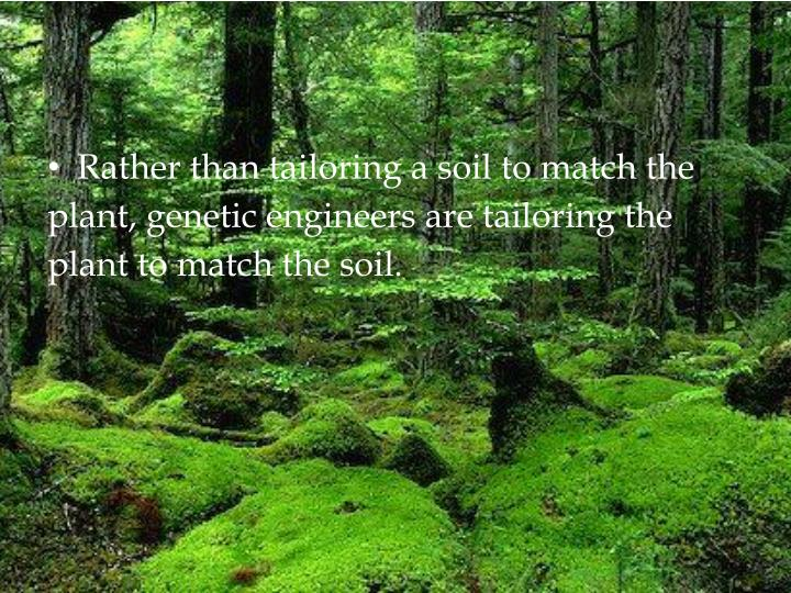 Rather than tailoring a soil to match the plant, genetic engineers are tailoring the plant to match the soil.