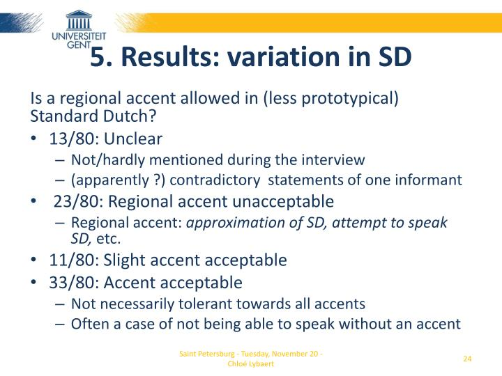 5. Results: variation in SD