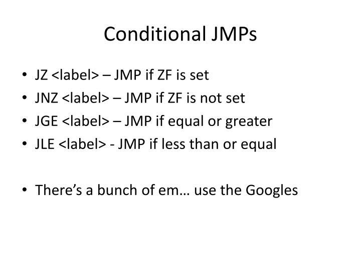 Conditional JMPs