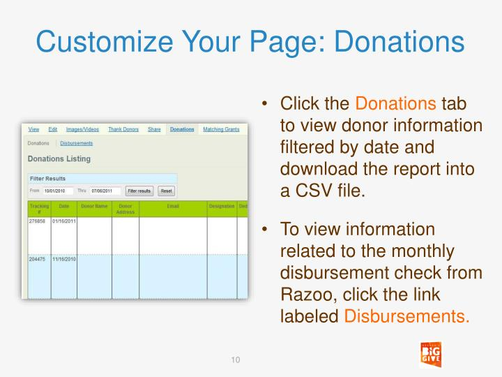 Customize Your Page: Donations