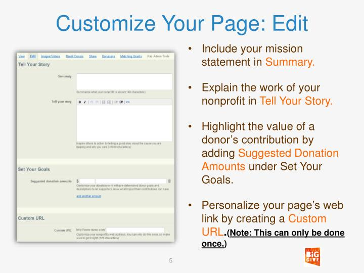 Customize Your Page: Edit
