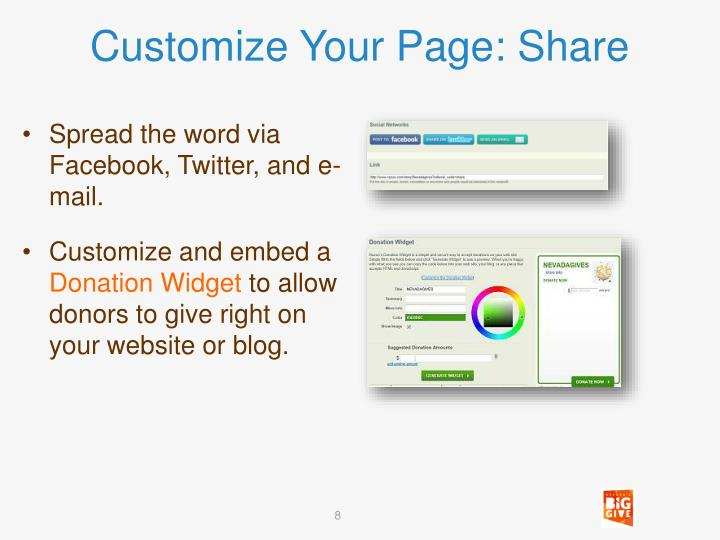 Customize Your Page: Share
