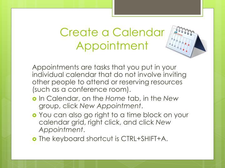 Create a Calendar Appointment