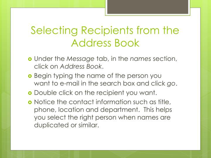 Selecting Recipients from the Address Book