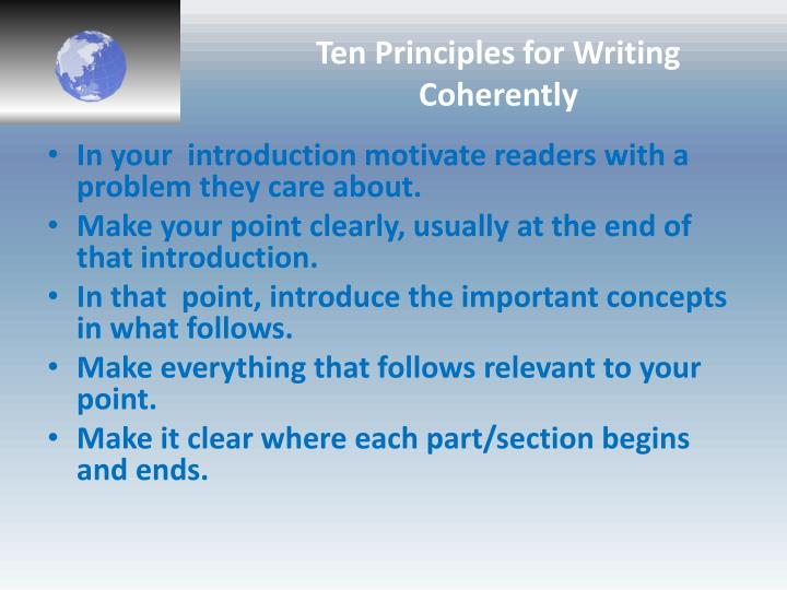 Ten Principles for Writing Coherently