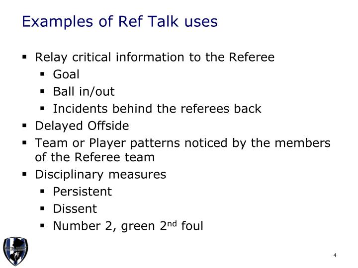 Examples of Ref Talk uses