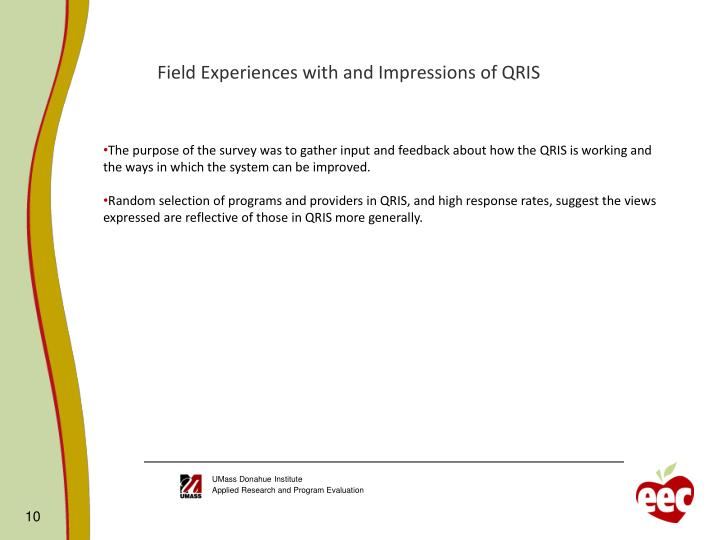 Field Experiences with and Impressions of QRIS