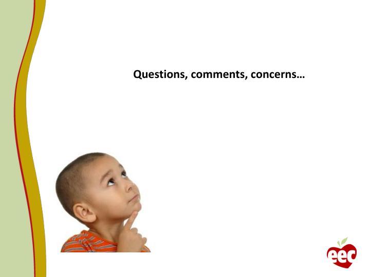 Questions, comments, concerns…