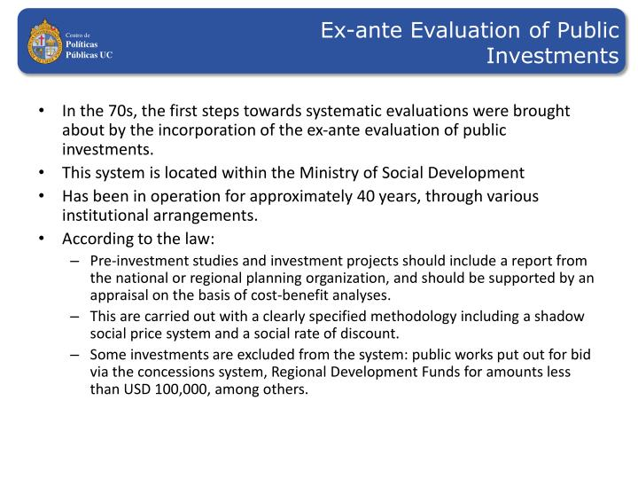 Ex-ante Evaluation of Public Investments