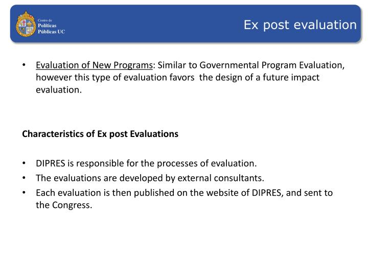 Ex post evaluation