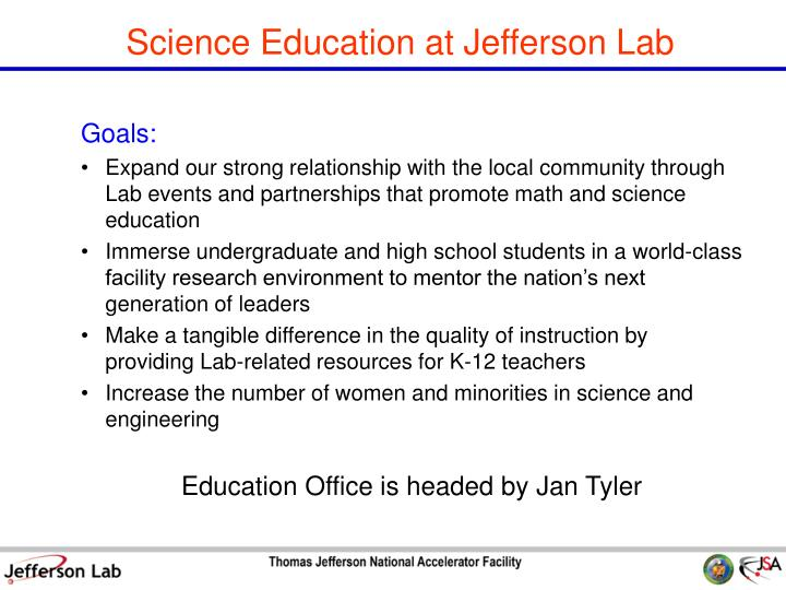 Science Education at Jefferson Lab