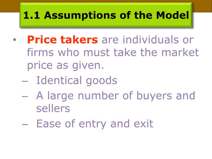 1.1 Assumptions of the Model