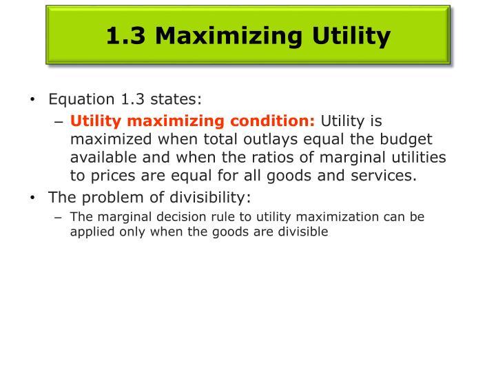 1.3 Maximizing Utility