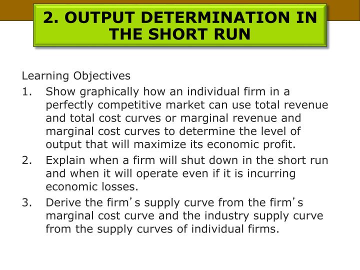 2. OUTPUT DETERMINATION IN THE SHORT RUN