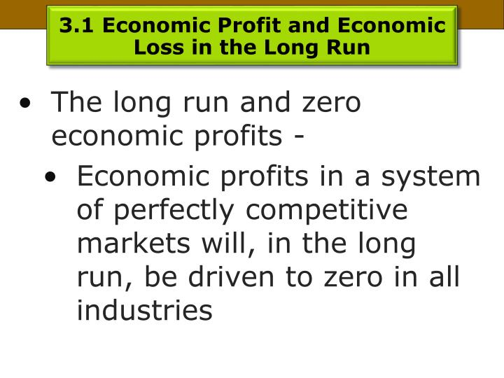 3.1 Economic Profit and Economic Loss in the Long Run