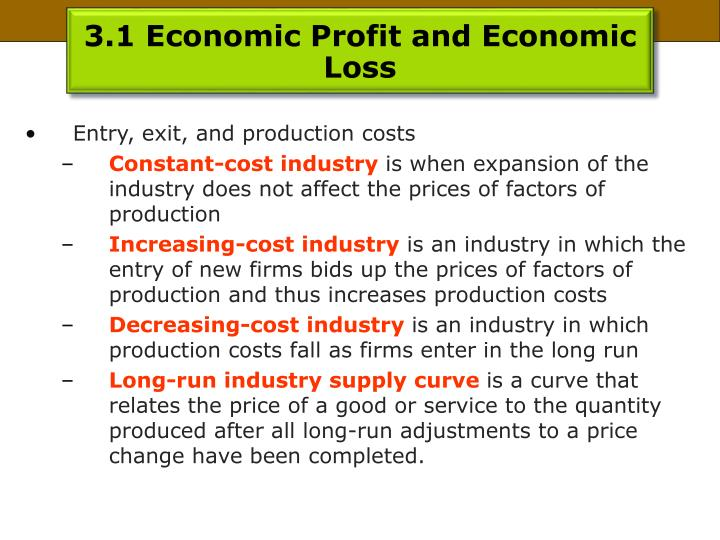 3.1 Economic Profit and Economic Loss