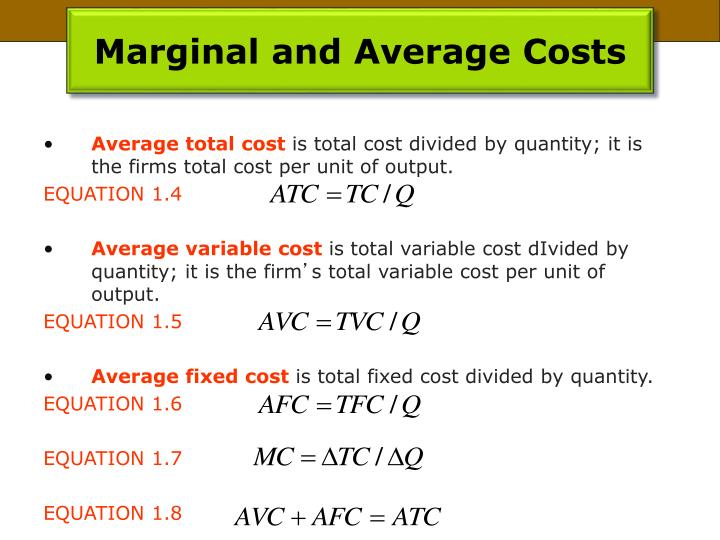 Marginal and Average Costs