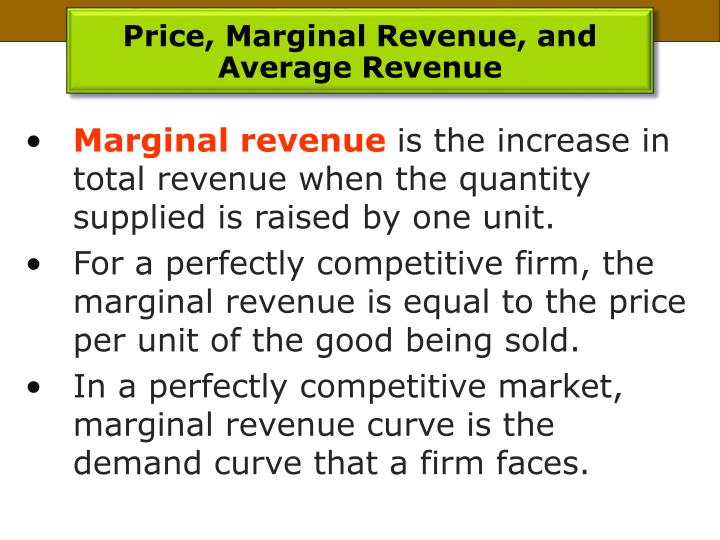 Price, Marginal Revenue, and Average Revenue