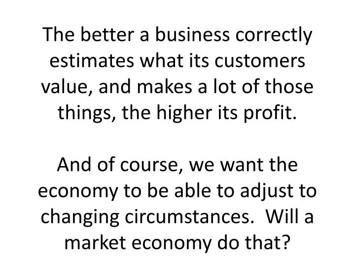 The better a business correctly estimates what its customers value, and makes a lot of those things, the higher its profit.